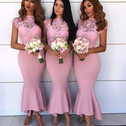 ankle length see through dress Coupons - Fashion High Neck Bridesmaids Dresses See Through Lace Sleeveless Ankle Length Mermaid Wedding Guest Dress Sexy Party Gown Prom Dress Cheap