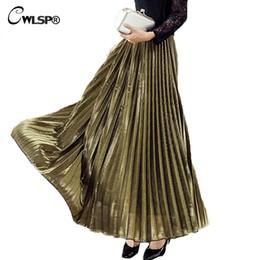 Wholesale Animal Empire - CWLSP Vintage Satin Long Skirts Womens Autumn Winter Smooth Metallic Pleated Skirts Ladies Elegant Elastic Party Maxi Skirt
