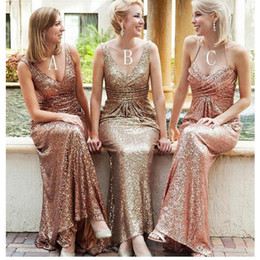 Wholesale Wedding Guest Dresses Long Sexy - 2018 Bling Sequined Bridesmaid Dresses V Neck Sexy Backless Gold Long Mermaid Wedding Guest Dress Formal Party Maid Of Honor Gowns