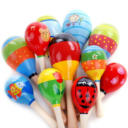 Wholesale Education Toys Wood - New Fashion Baby Wooden Maraca Hand Rattles Kids Musical Party Favor Child Baby Shaker Percussion Musical Instrument Education Toy