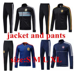 Wholesale new belgium - 2018 A+++ top quality New Spain RAMOS DIEGO ISCO Belgium lukaku Argentina messi jacket soccer zipper kit tracksuit 18 adult