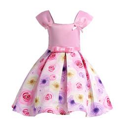 Vestido da menina elegante estilo europeu sem mangas arco flores vestido de princesa para 3-10yrs meninas crianças crianças festa de casamento desempenho vestido de Fornecedores de novo modelo meninas vestido imagem
