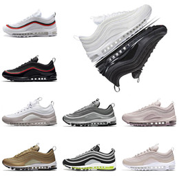 Wholesale pink light blue - with box 97 shoes Triple white black pink Running shoes Og Metallic Gold Silver Bullet Mens trainers Women sports Shoes sneakers size 36-45