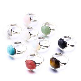 anello di fidanzamento stile coreano Sconti Monili di marca dell'anello regolabile di cristallo rosa opale rotondo di pietra naturale 10mm