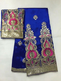 Wholesale royal clothes - 5 Yards New fashion royal blue african George lace fabric with gold sequins and 2yards net lace for clothes JG18-4