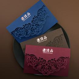 Lasergeschnittene einladungen china online-Rot Blau Laser Cut Hochzeitseinladungen 50 stücke China Vintage Elegante Hochzeitseinladungskarte Luxus Party Hochzeit Dekoration Karten