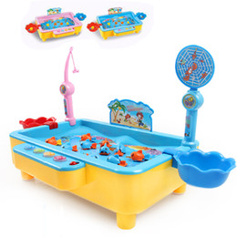 Wholesale Games Hands - Fishing Playset with Swimming Fishes Music Light Fish Catching Hand-Eye Coordination Learning Game Set Magnetic Fishing Joy Toys for Kids