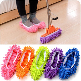Wholesale Mop Slippers Wholesale - Dust Cleaner Grazing Slippers House Bathroom Floor Cleaning Mop Cleaner Slipper Lazy Shoes Cover Chenille wen5518