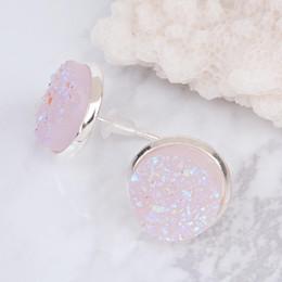 2019 puesto de boxeo Doreen Box Copper Post Stud Pendientes Round Silver color Light Pink AB Color W / Stoppers Fashion Jewelry 16mm x 14mm 2017 nuevo puesto de boxeo baratos