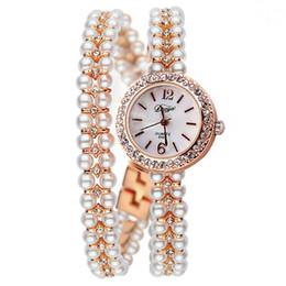 Wholesale quartz watches korea - Duoya Brand Korea Luxury Brand Pearls Bracelet Watch Women Female Ladies Dress Fashion Quartz Wristwatch