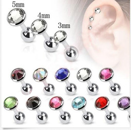 Wholesale barbell earrings - Wholesale Mix 355pcs Muliti Color Cartilage Earrings 3mm 4mm 5mm Steel Small Body Piercing Tragus Barbell with Gem Stones