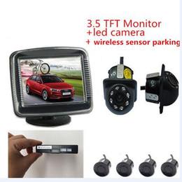 2019 vidéo du moniteur de stationnement Moniteur de voiture caméra vidéo sans fil 2,4 GHz Aide au stationnement Moniteurs de voiture radar + caméra de recul + capteur de stationnement sans fil promotion vidéo du moniteur de stationnement