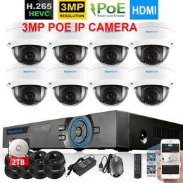 Canada H.265 POE 4MP NVR système 8pcs 3mp 2048 * 1536 IP66 IP66 à l'épreuve du vandalisme Kit de vidéosurveillance en extérieur cheap ip66 cameras Offre