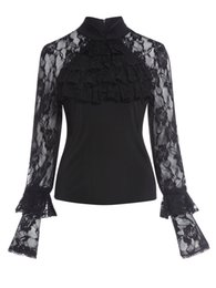 Wholesale Butterfly Clubs - sexy women shirts lace transparent butterfly sleeve women tops party club regular black gothic femme shirts