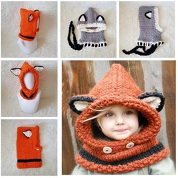 2a8c08bff6e fox hat scarf 2019 - Hats Winter Kids Warm Fox Animal Knitted Hood Scarf  Beanies for
