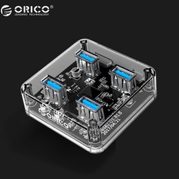 transparent cables Coupons - ORICO 4 Ports USB3.0 HUB New Design Transparent HUB With External Power Supply Port SuperSpeed Date Cable 30cm 100cm