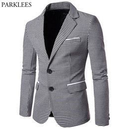 Wholesale Houndstooth Mens - Autumn Plaid Blazer Men 2017 Fashion Houndstooth Plaid Men Blazers Casual Single Breasted Slim Mens Blazer Jacket Costume Homme