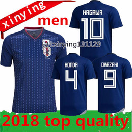 Wholesale Japan 18 - Free shipping 2018 World Cup Japan home blue Soccer jersey 18 19 Custom OKAZAKI KAGAWA HASEBE NAGATOMO Football shirts 2017 Top Thai Quality