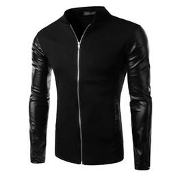 Wholesale Varsity Jacket Designs - Wholesale- Cool College Baseball Jacket Men 2016 Fashion Design Black Pu Leather Sleeve Mens Slim Fit Varsity Jacket Brand Veste Homme