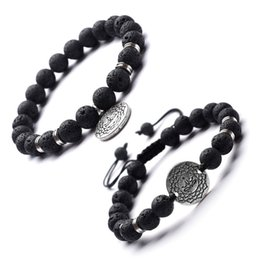 motifs de tressage de bracelet Promotion New Natural Volcanic Stone Beads Essential Oil Aromatherapy Bracelet Stainless Steel Septa Fine Pattern Accessories Yoga Braided Bracelet