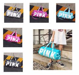 Wholesale art canvas letters - Girl Stripe Duffle Bag Beach Printing Letter PINK Shoulder Bag Large Capacity vs Travel Bag Handbag DDA163