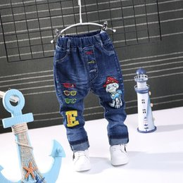 Wholesale 5t jeans - 2018 NEW Spring Fashion Cartoon Boys Jeans Baby casual letter Pants Kids Elasticity Jean Boy Trousers Autumn Children Denim 1-5Y