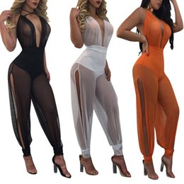 Wholesale Sexy Sheer Mesh Pants - Women Mesh Jumpsuit Party Sexy V-neck Embellished Cuffs Mesh Sleeveless Loose Club Pants Casual Jumpsuit 3 Colors LJJO4428