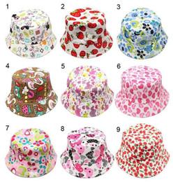 Летняя шляпа соломенного мальчика онлайн-2-6T детские мультфильм печати ведро ВС Hat цветочные дети лето Панама шапки новорожденных девочек Рыбак соломенной шляпе дети мальчики Topee cap