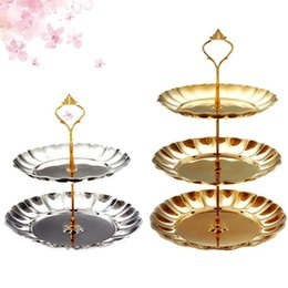 Wholesale nut stainless steel - Gold silver stainless steel round cake stand wedding birthday cake rack home creative nut candy pastry plate party supplies free ship
