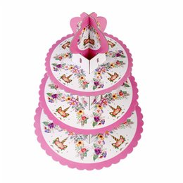 Contenitori di cupcakes online-Creativo Unicorn Cartoon 3-tier Cake Stand Baby Shower Forniture per bambini Birthday Party Decoration Cupcakes Holder Candy Bar 1set