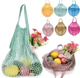 Wholesale folding totes - Fashion Shopping Mesh Bag Convenient Reusable Fruit String Grocery Shopper Cotton Tote Mesh Vegetables Storage Handbag KKA5137