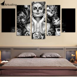 Wholesale Canvas Wall Art Ny - HD Printed Day of the Dead Face 5 piece canvas art painting livingroom decoration sugar skull black white wall art Free ny-437