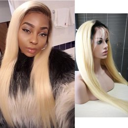 Wholesale remy human hair wigs blonde - Brazilian Human Hair 150% Density T1b 613 Dark Roots Blonde Wig Pre Plucked Remy 1B 613 Ombre Lace Front Wigs With Baby Hair Lace Front Wig