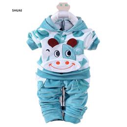 Set di abbigliamento per bambini online-Nuovi vestiti delle neonate insiemi bambini Autumn Character Cow Cotton Shirt + Pants a maniche lunghe 2 pezzi Set di abbigliamento per bambini