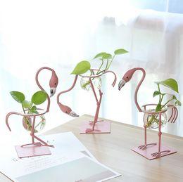 Insieme all'ingrosso del vaso online-Commercio all'ingrosso 1 pz / set carino ferro flamingo fiore vasi cultura dell'acqua scindapsus contenitore decorazione domestica spedizione gratuita