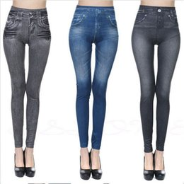 Wholesale Women Jeans Leggings - 3 Colors Jean Skinny Jeggings Women Stretchy Denim Pants Leggings Jeans Pencil Tight Trousers Slim Leggings AAA187