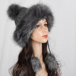 7643a68ec05 HT2105 Big Fur Pompom Ball Winter Hats for Women Russian Ushanka Hat Thick  Warm Fox Fur Hat Earflap Ski Cap Women Knitted