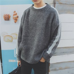 Wholesale korean jacket clothing men - Autumn men round neck loose Korean version trend and winter handsome jacket men's clothing long-sleeved sweater Free shipping