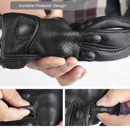 Черные кожаные перчатки велосипеда онлайн-Черный 1 пара мотоцикл перчатки кожа зима ветрозащитный теплые перчатки гонки защитное оборудование мужские перчатки передач для мотоциклов