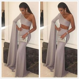 Wholesale Ba Silver - Two Pieces Arabic Satin Mermaid Evening Dresses One Shoulder Long Sleeve Floor Length Formal Party Gowns Prom Dresses BA