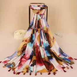 Wholesale Flower Hijabs - 5pcs lot Flower Viscose Scarf women print Tassels shawls soft headband beach Bandana big size hijabs Long Scarves 180*90cm LS343