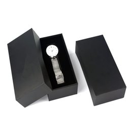 cardboard display cases Promo Codes - Wholesale Paper Watch Display Box Black Paper Design Watch Storage Box With Foam Custom Black Cardboard Gift Case
