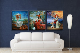 Wholesale Printed Picture Book - 3 Piece Oil Painting Printed On Canvas Colorful Wall Pictures For Living Room Home Decor Wall Art Picture michael cheval art book