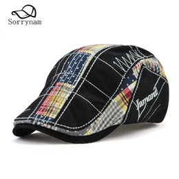 Wholesale Blue Beret For Men - Wholesale New Spring Beret Hats for Men or Women Fashion Visor Embroidery Plaid Patchwork Unisex Bone Boias Hats