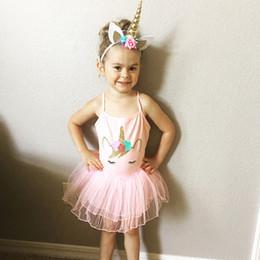 Wholesale Toddler Dance Dresses - Unicorn Princess Pink TUTU dress Unicorn Summer Children Dresses Toddler Sweet Baby Girl dancing fashion dresses FFA031