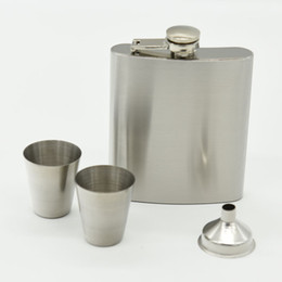 Wholesale Gift Flasks - Stainless Steel Flagon 7oz Hip Flasks Drinkware Portable Wine Pot Gift Box Set 17 5jz C R