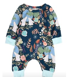 Wholesale Wholesale Organic Baby Rompers - Hug Me Baby Rompers Toddler Girls Clothing 2018 Spring Fashion Cute Print Rabbit Long Sleeve Cotton Romper EC-250