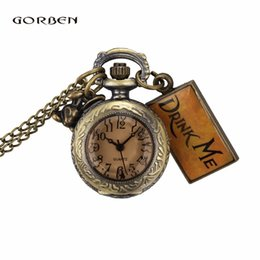 Wholesale Necklace Small Pocket Watches - Cute Design Drink Me Small Watch Alice In Wonderland Small Size Round Dial Pocket Watch Necklace Chain Women Mens Ladies Gifts