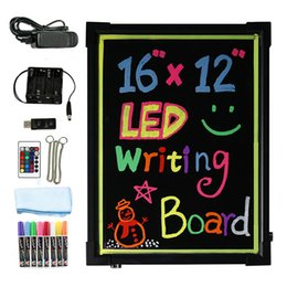 Wholesale led neon board sign - LED Writing Message Board Illuminated Erasable Neon Effect Restaurant Menu Sign with 8 colors Markers, 7 Colors Flashing DIY
