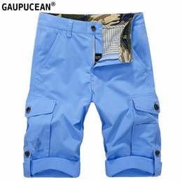 1468859d52a Man Cargo Shorts 100% Cotton Loose Pockets Fashion Casual Army Knee Length  Male Street Green Blue Khaki Men Short Pants